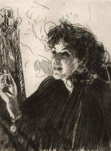 Anders Zorn (1860-1920) Cigarettrökerska II, etsning 157 x 117