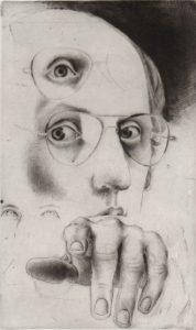 Lasse Söderberg (f 1941) Självporträtt, torrnålsgravyr 167 x 103